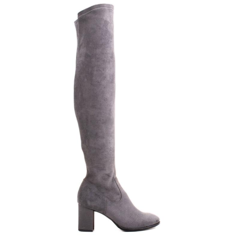 Marco Shoes Wysokie i dopasowane szare kozaki damskie wykonane ze stretchu