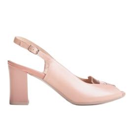 Różowe sandały Marco Shoes 1177P ze złotem