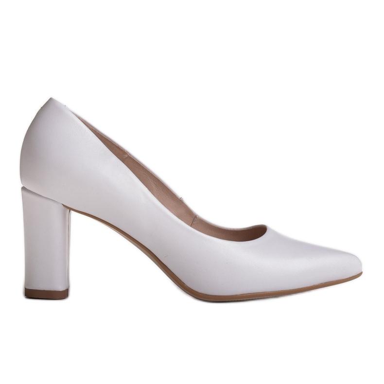 Marco Shoes Czółenka białe klasyczne ze skóry