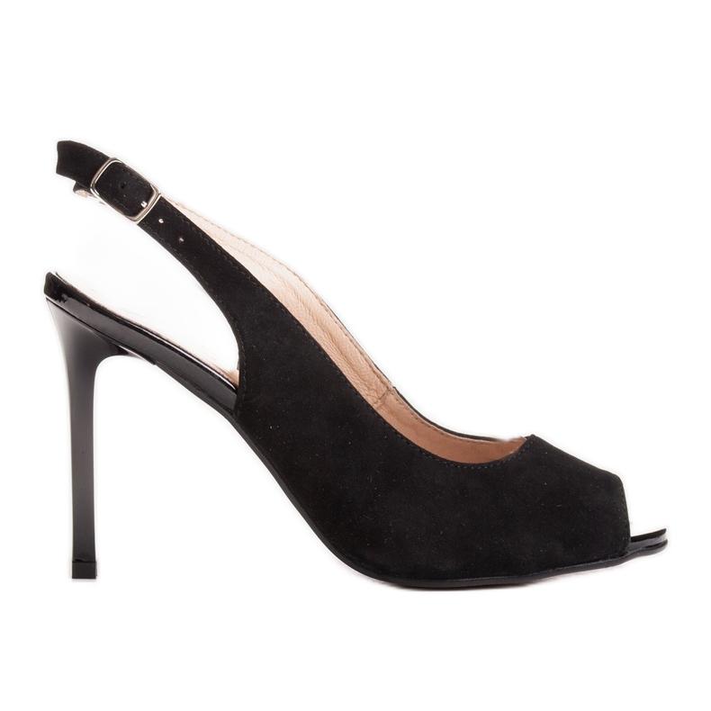 Marco Shoes Czarne sandały welurowe 1188P na szpilce