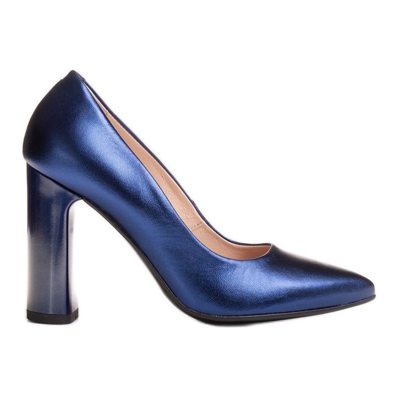 Marco Shoes Eleganckie czółenko metaliczny granatowe ze skóry na wyższym obcasie niebieskie