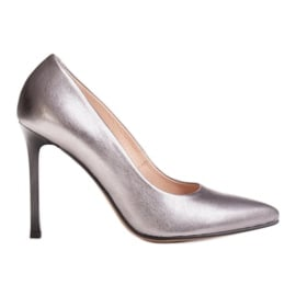 Marco Shoes Szpilki Marco ze skóry naturalnej na obcasie srebrny szare