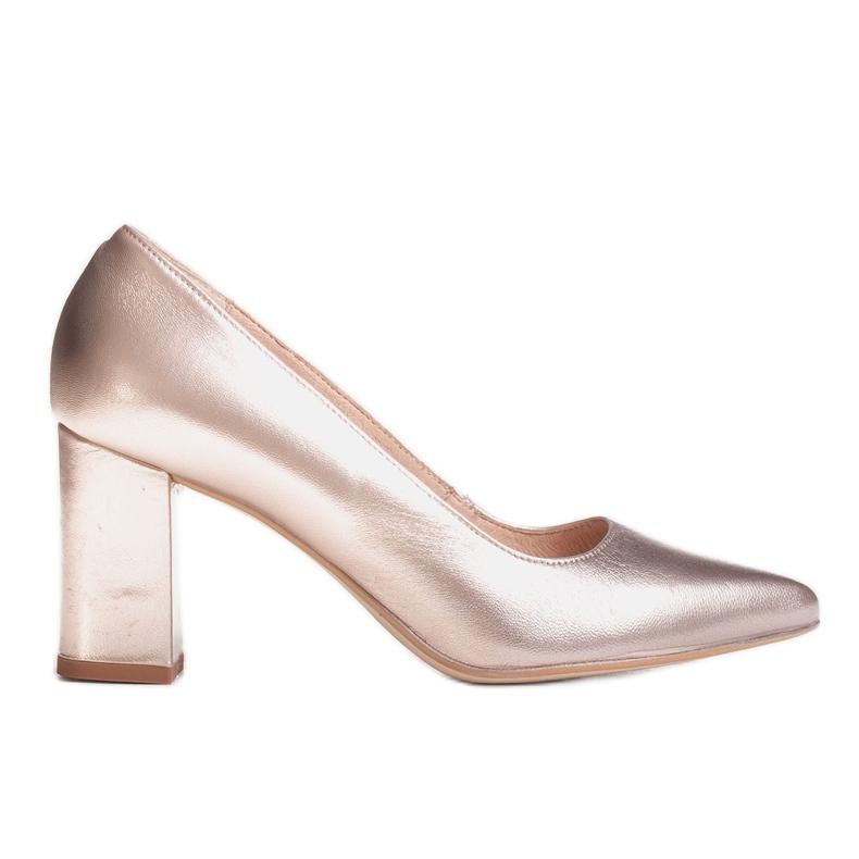 Marco Shoes Platynowe czółenka 1066P z ciekawym obcasem złoty