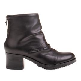 Marco Shoes Botki damskie 1258B Marco z skóry marszczonej czarne
