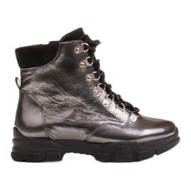 Marco Shoes Sportowe botki 1349B Marco ze skóry szare