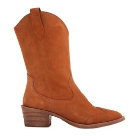 Marco Shoes Miedziane botki z naturalnego zamszu