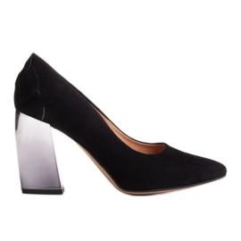 Marco Shoes Czarne czółenka z metalicznym obcasem