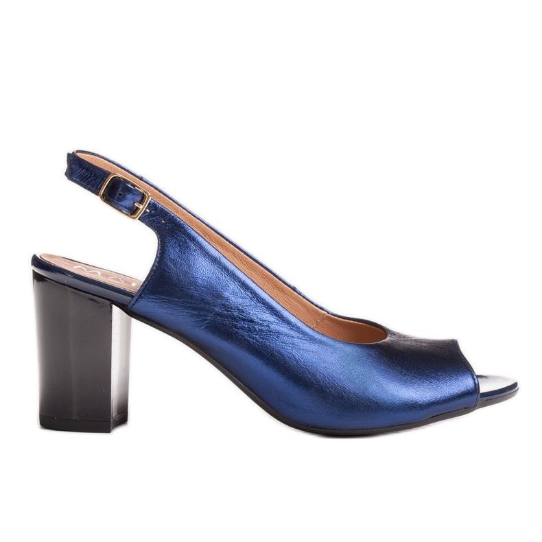 Marco Shoes Sandały metaliczne Marco ze skóry na stabilnym obcasie granatowe niebieskie