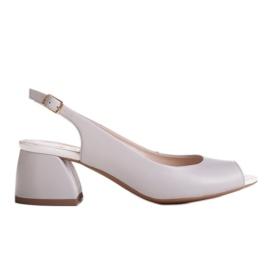Marco Shoes Sandały 1506P z szarej skóry na stabilnym obcasie