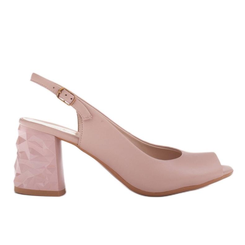 Marco Shoes Różowe sandały na obcasie 3D