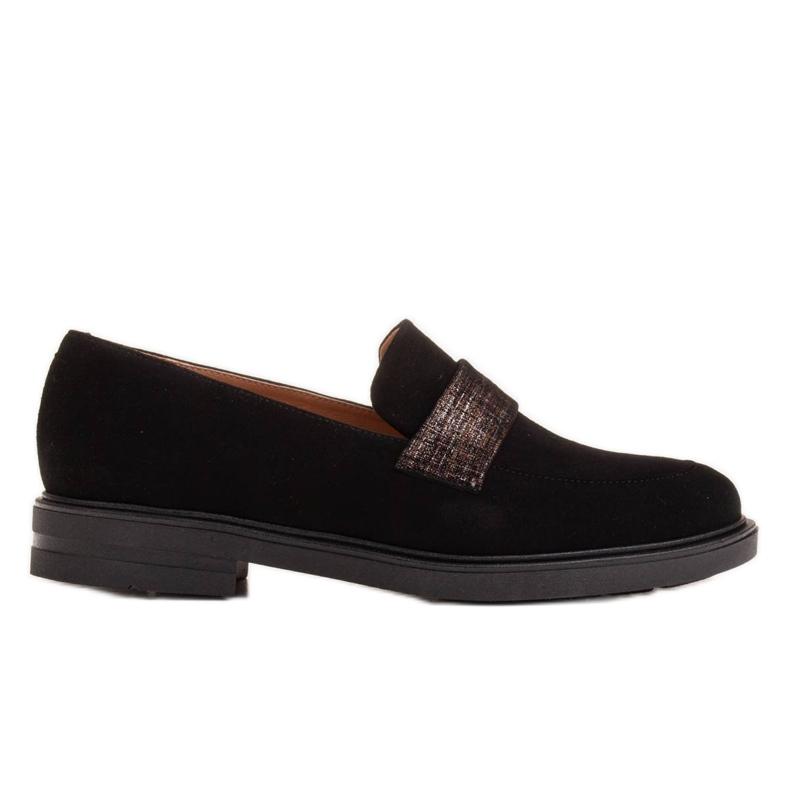 Marco Shoes Czarne mokasyny z welurem ze zdobieniem