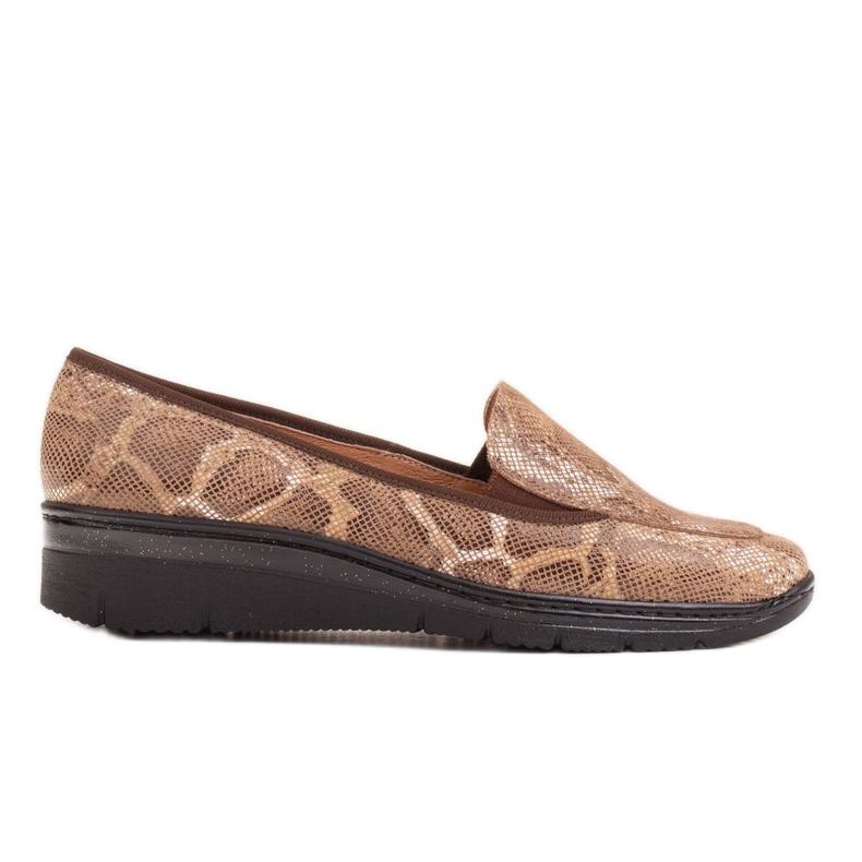 Radoskór Wygodne brązowe półbuty mokasyny damskie na szerszą stopę