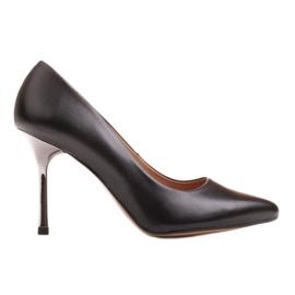 Marco Shoes Szpilki czarne z metalicznym obcasem
