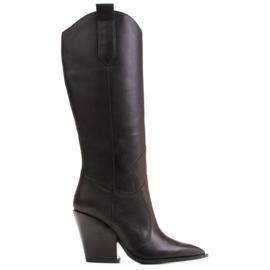 Marco Shoes Czarne kozaki damskie Marco 1399K kowbojki