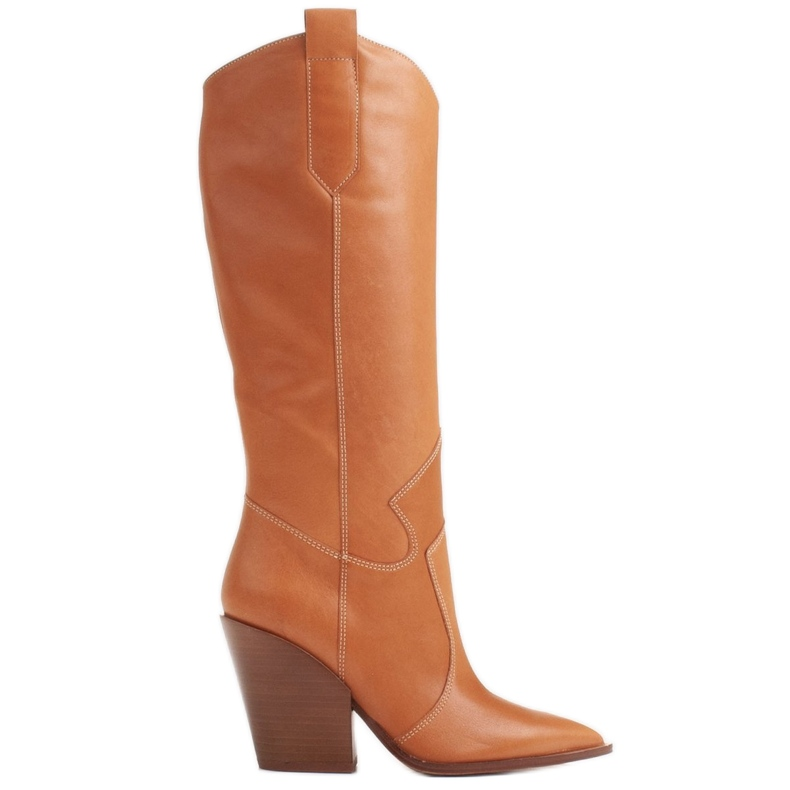 Marco Shoes Brązowe kozaki Marco 1399K kowbojki damskie