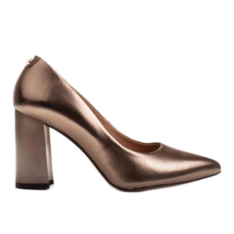 Marco Shoes Brązowe czółenka damskie z naturalnej skóry metalicznej