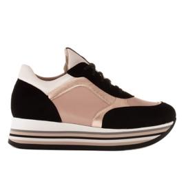 Marco Shoes Lekkie sneakersy na grubej podeszwie z naturalnej skóry czarne różowe