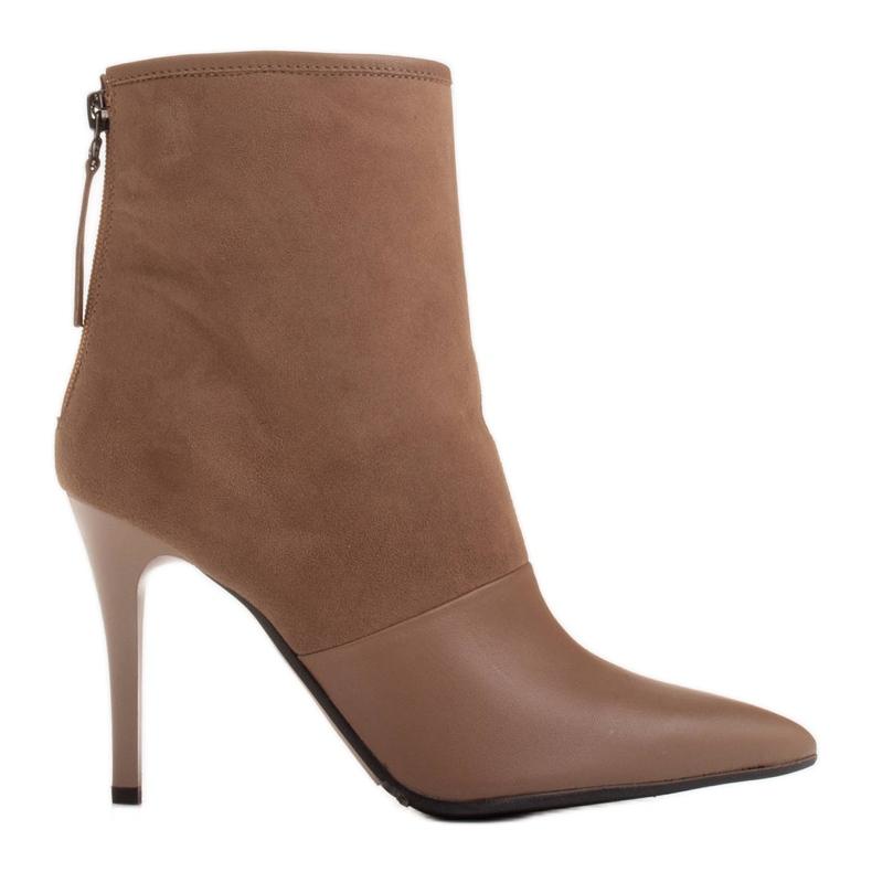 Marco Shoes Botki damskie na szpilce w połączeniu skóry i zamszu beżowy