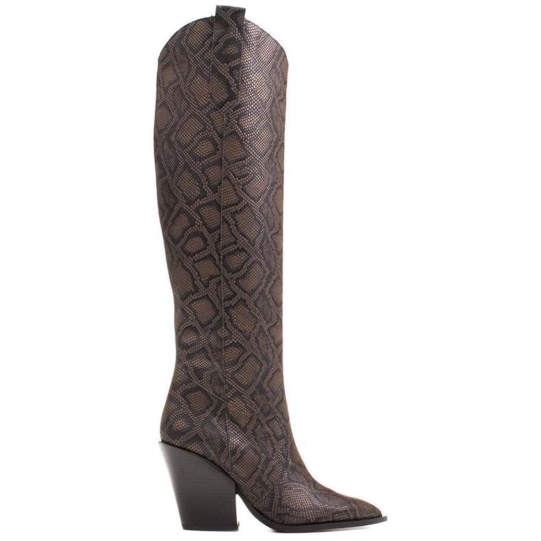 Marco Shoes Wysokie kozaki damskie kowbojki z naturalnej skóry brązowe