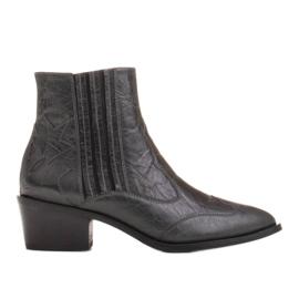 Marco Shoes Szare kowbojki z naturalnej skóry licowej bez ocieplenia