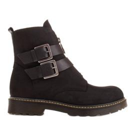 Marco Shoes Czarne botki damskie na grubym spodzie przeźroczystym