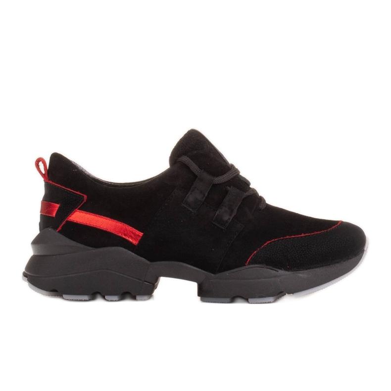 Marco Shoes Sportowe trampki z wysokiej jakości zamszu naturalnego czarne