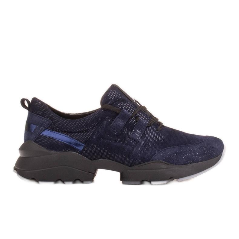 Marco Shoes Sportowe trampki z wysokiej jakości zamszu naturalnego granatowe