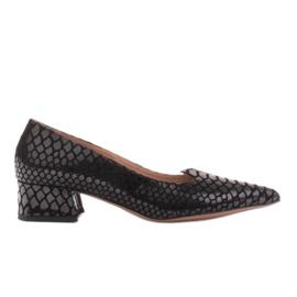 Marco Shoes Czółenka damskie z ciekawą skórą na niskim obcasie czarne