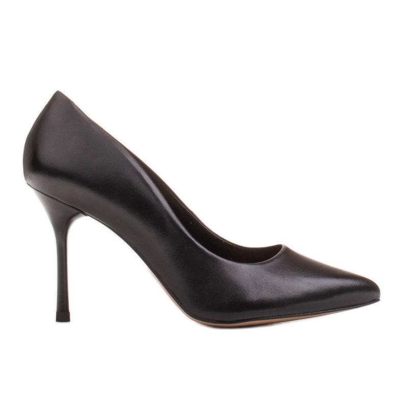 Marco Shoes Czarne szpilki z miękkiej skóry licowej na wysokim obcasie