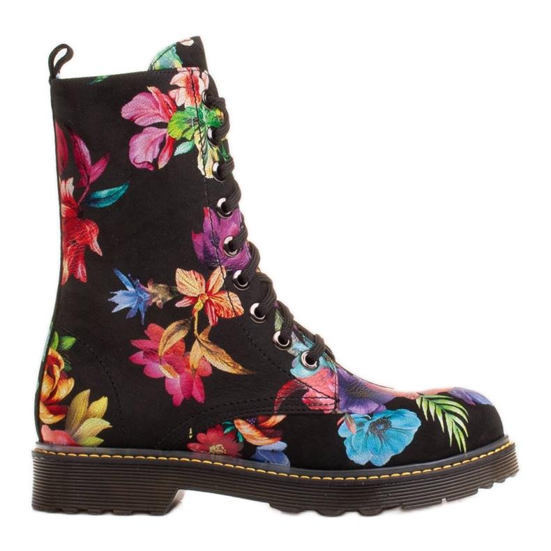 Marco Shoes Wysokie trzewiki, glany wiązane z nubuku z nadrukiem kwiatowym czarne wielokolorowe