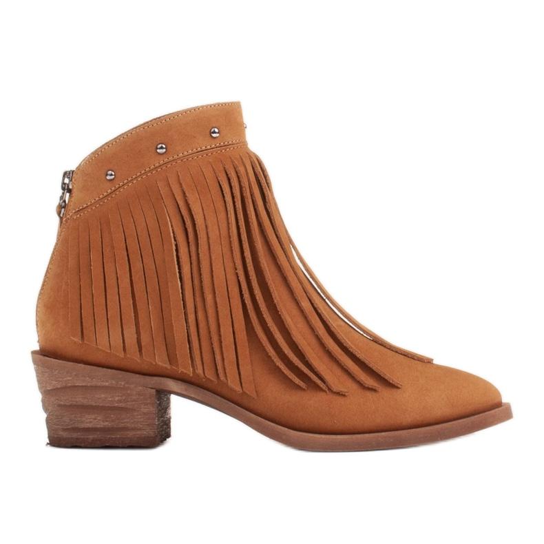 Marco Shoes Jasno brązowe kowbojki z naturalnego zamszu z frędzlami pomarańczowe