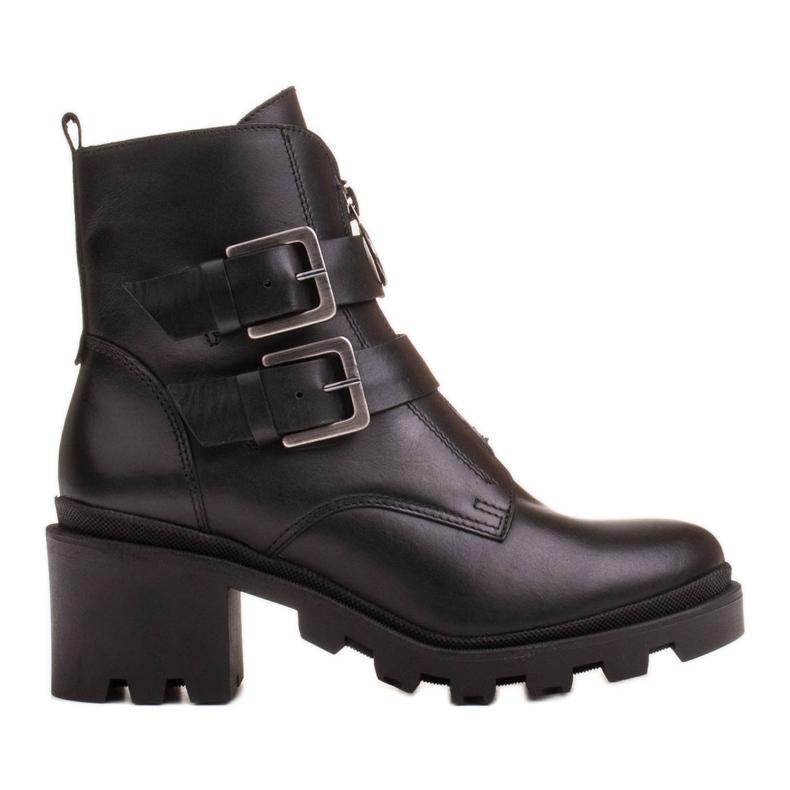 Marco Shoes Czarne botki skórzane na grubej i lekkiej podeszwie