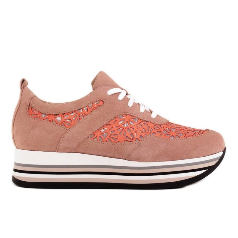 Marco Shoes Sneakersy na grubej podeszwie z siateczką oddychającą różowe