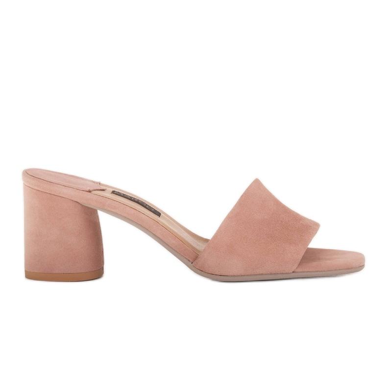Marco Shoes Klapki damskie Marco z zamszu naturalnego różowe