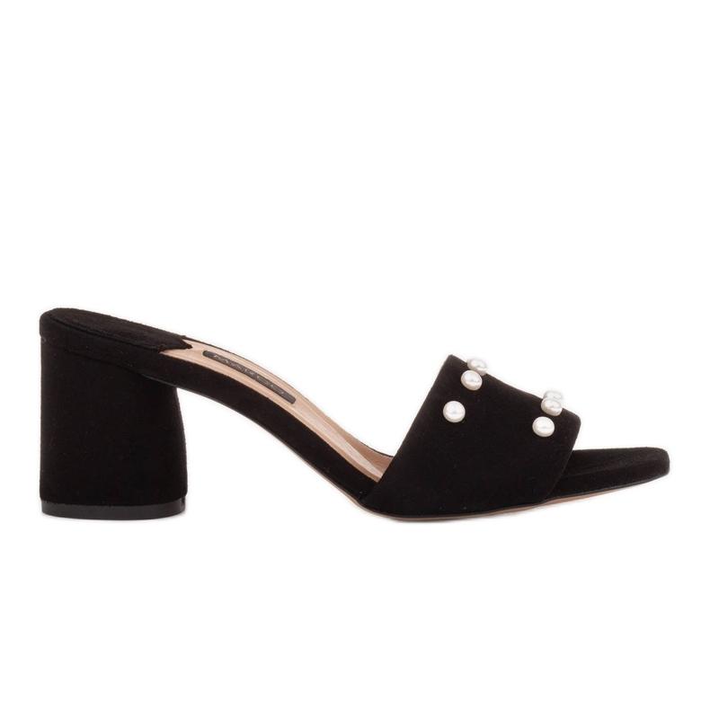 Marco Shoes Klapki damskie Marco z zamszu naturalnego czarne