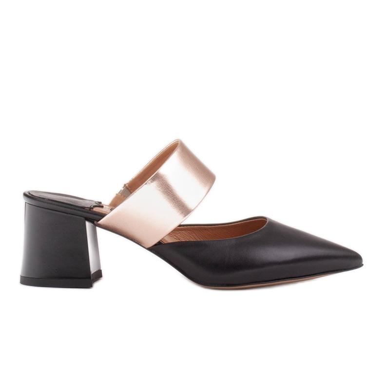Marco Shoes Eleganckie czółenka damskie na lato czarne złoty