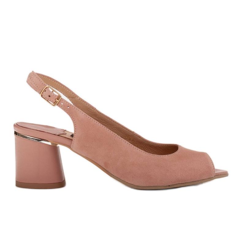Marco Shoes Eleganckie sandały damskie z metalicznym akcentem różowe