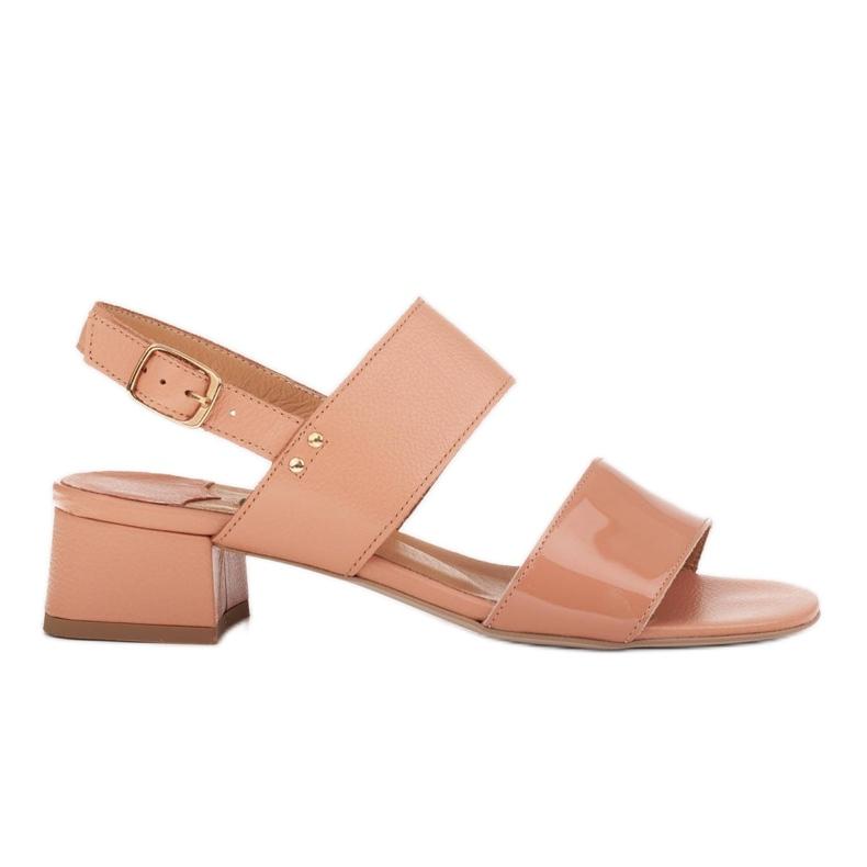 Marco Shoes Sandały Cinta z obcasem powlekanym skórą pomarańczowe