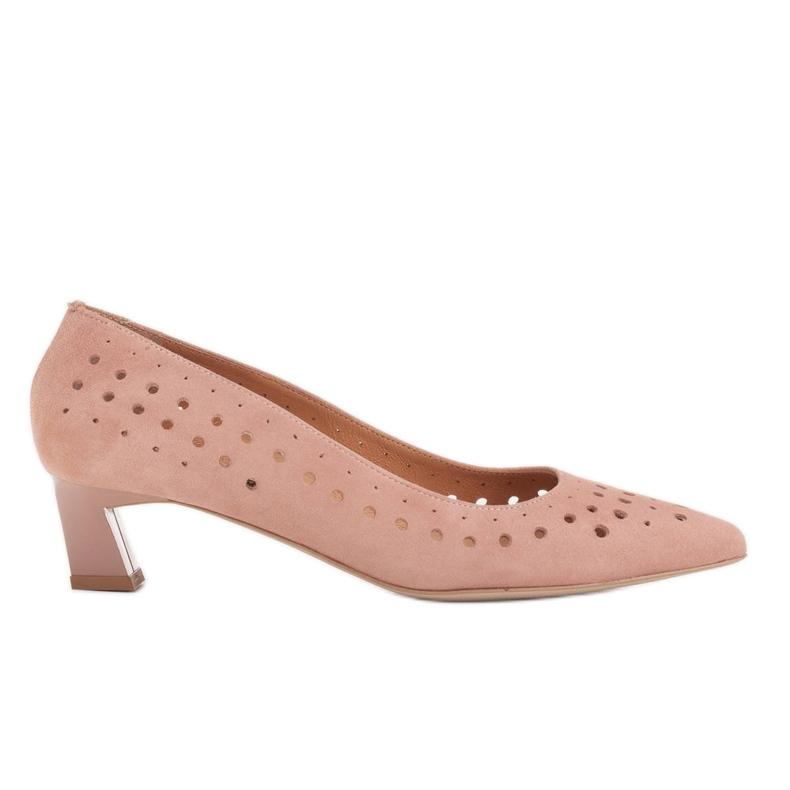 Marco Shoes Czółenka damskie z ciekawą perforacją różowe