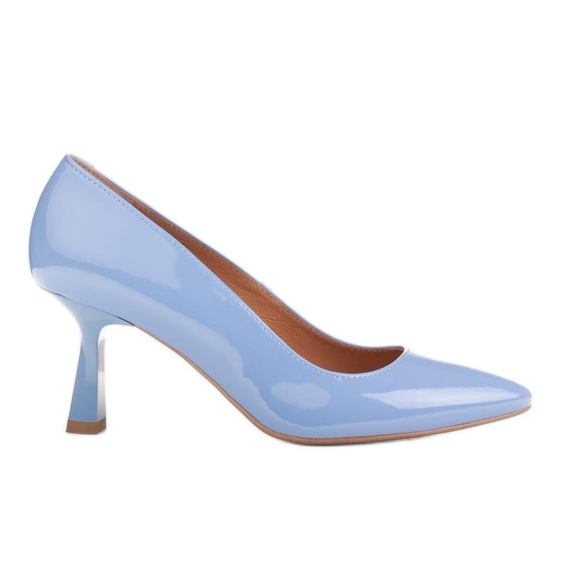 Marco Shoes Eleganckie czółenka z błękitnego lakieru niebieskie