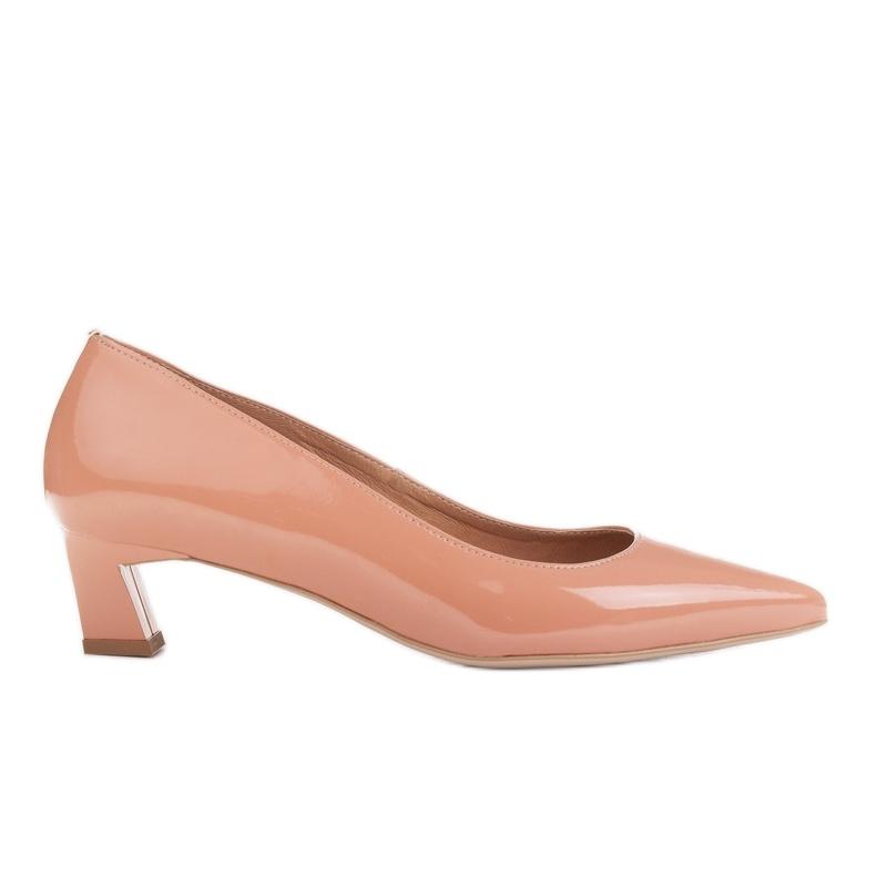 Marco Shoes Eleganckie czółenka na niskim obcasie pomarańczowe