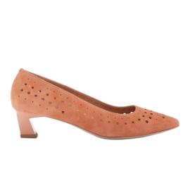 Marco Shoes Czółenka damskie z ciekawą perforacją pomarańczowe