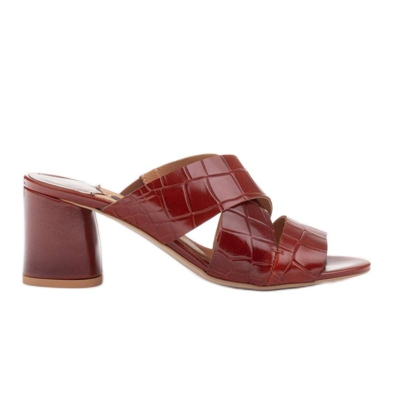 Marco Shoes Skórzane klapki damskie ze skóry w pocięte pasy czerwone
