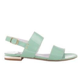 Marco Shoes Płaskie sandały z lakieru i metalicznym obcasem zielone