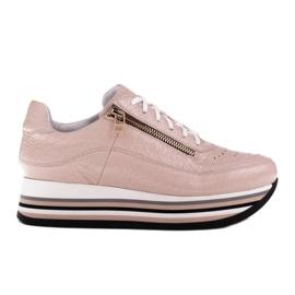 Marco Shoes Sneakersy na grubej podeszwie z naturalnej skóry różowe