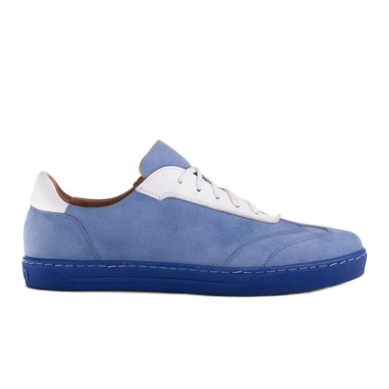 Marco Shoes Sportowe trampki z wysokiej jakości zamszu naturalnego niebieskie