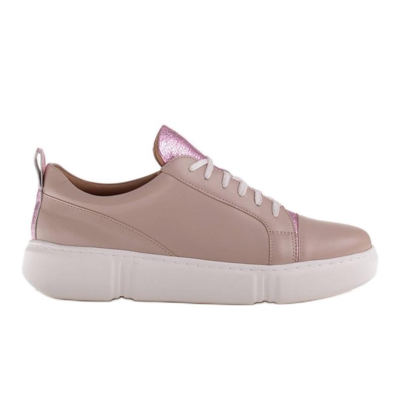Marco Shoes Beżowe sneakersy z różową wstawką beżowy