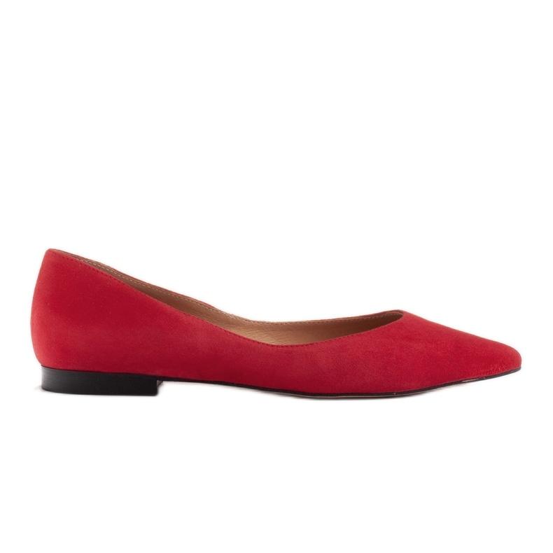 Marco Shoes Baleriny damskie z niskimi bokami czerwone