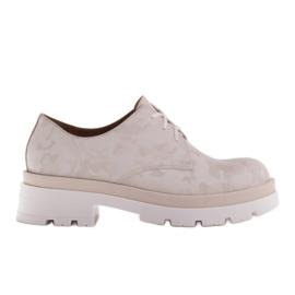 Marco Shoes Półbuty ze skóry moro na grubej podeszwie beżowy