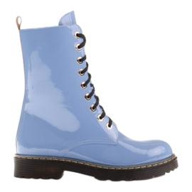 Marco Shoes Wysokie trzewiki, glany wiązane na półprzeźroczystej podeszwie niebieskie